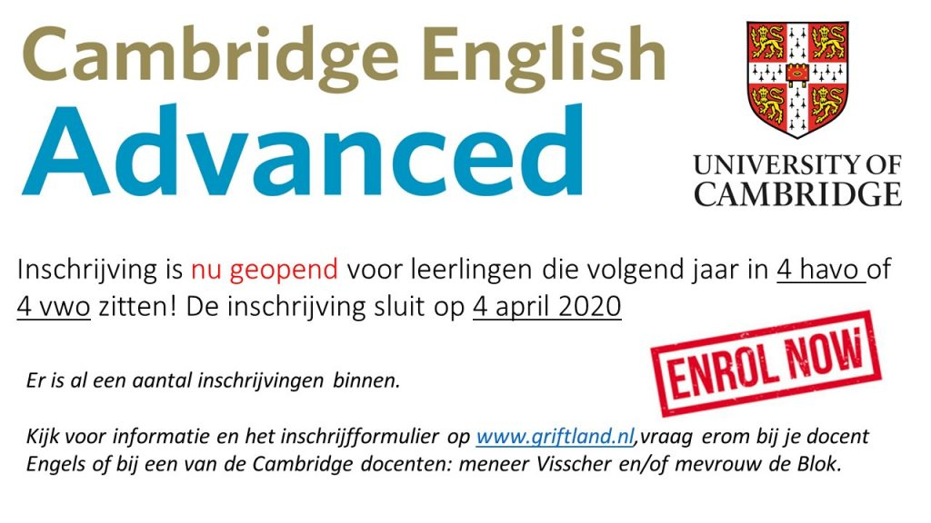 Cambridge English Advanced inschrijving geopend! 2