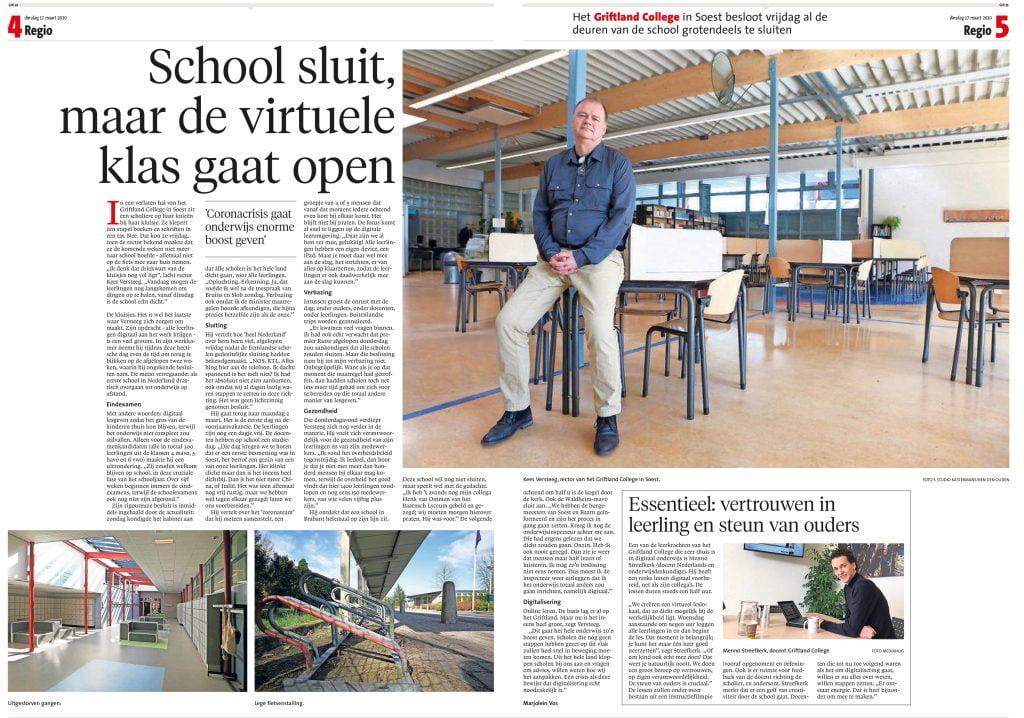 De Gooi- en Eemlander: School sluit, maar de virtuele klas gaat open 1